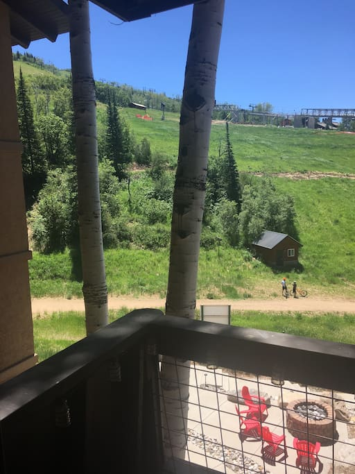 Gas fire pit and trails, viewed from the balcony