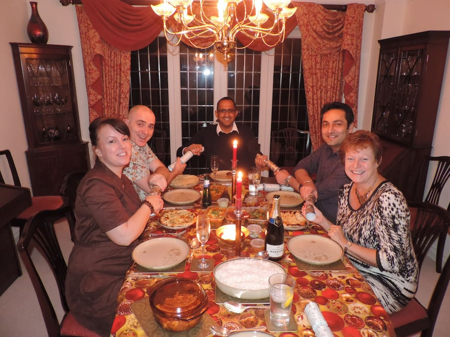 Former guests return for a Christmas dinner party.
