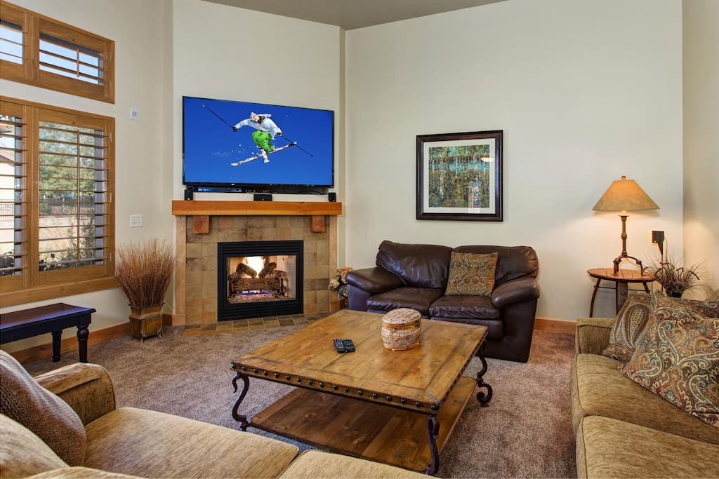 Enjoy the large flat screen TV for family movie nights.