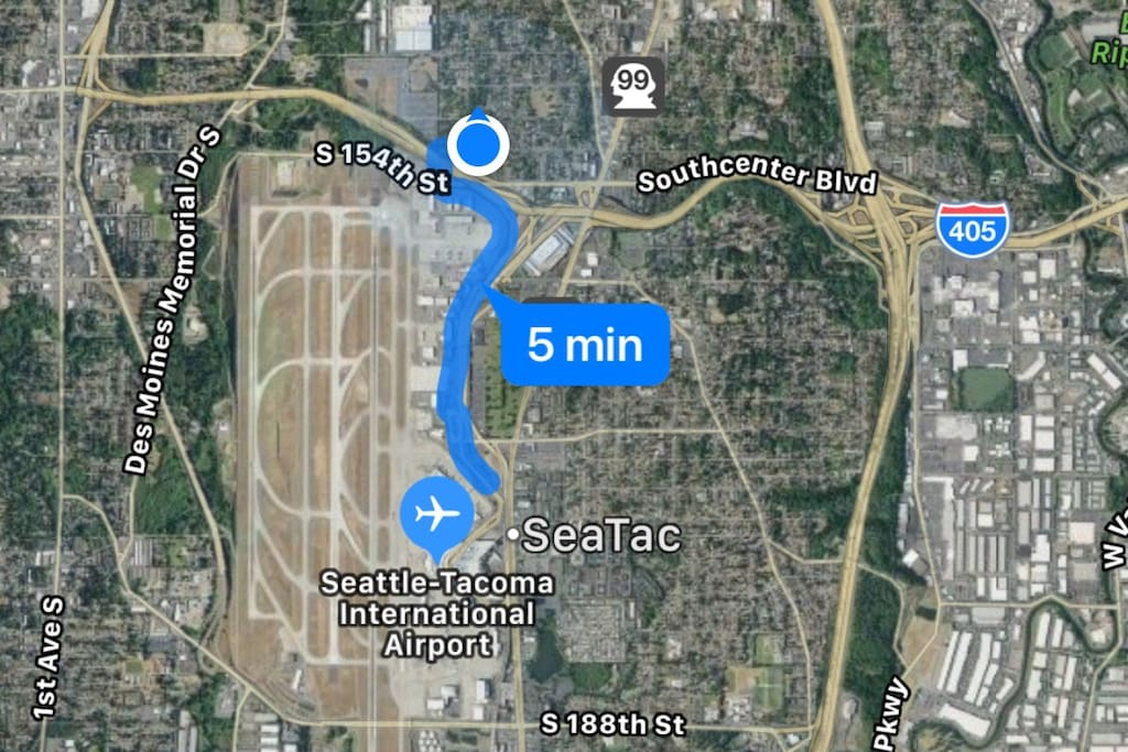 Location:  less than 2 miles from SeaTac International Airport