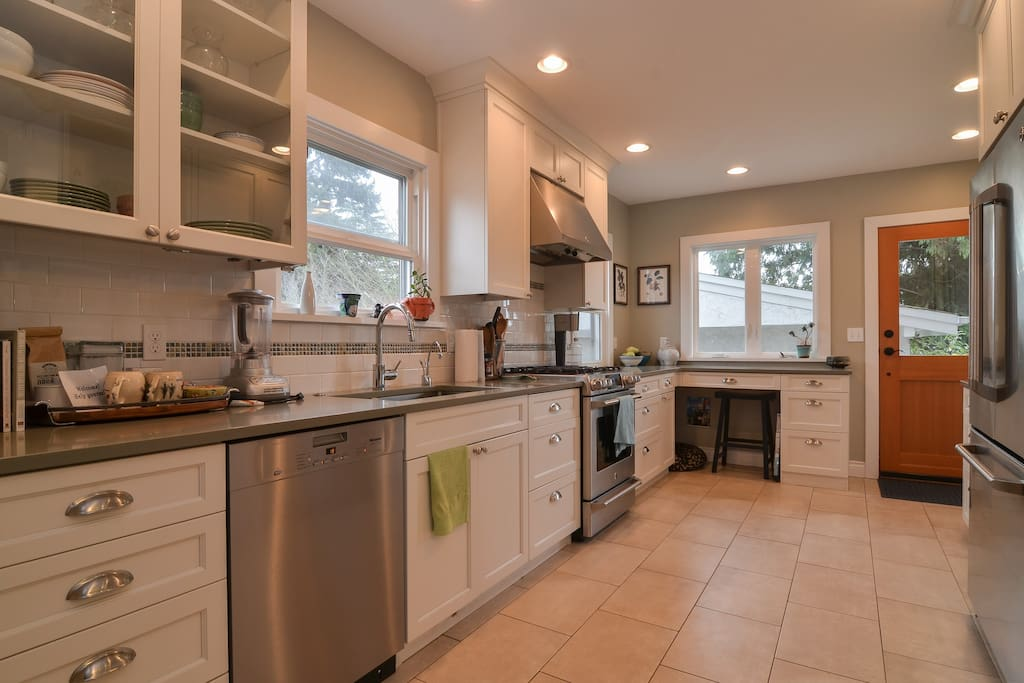 Newly renovated kitchen off the living room