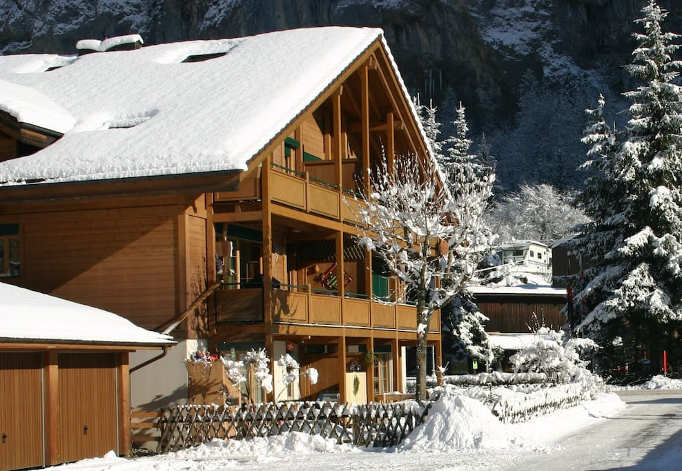 Chalet in Winter. Easy access to Mürren/Wengen Ski resorts. Free ski bus stops outside with regular services throughout the day and evening.