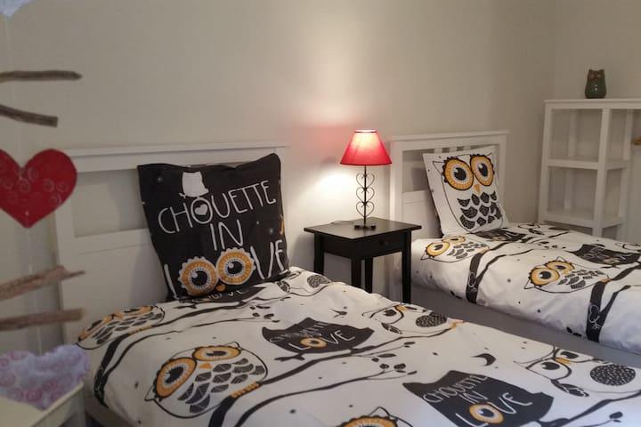 Seconde chambre avec 2 lits simples, étagères et espace penderie. Literie également fournie et lits faits à l'arrivée