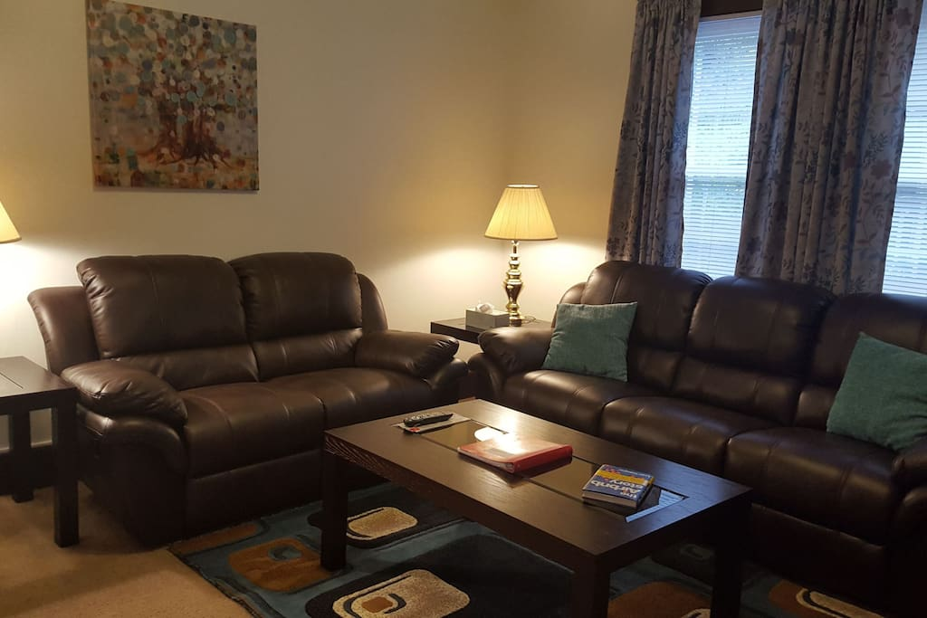 Large reclining sofa and love seat. Perfect after a day of sightseeing or seeing a Steelers game