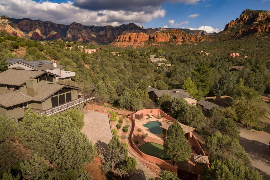 Stunning red rock views and private salt water pool.