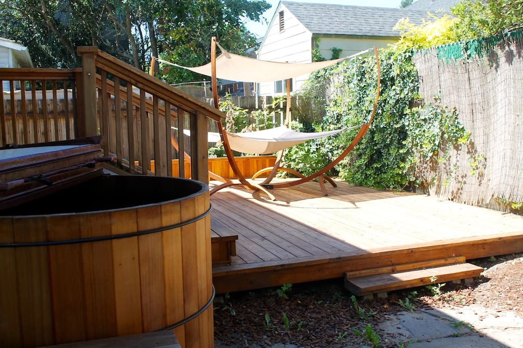 Hot tub and large back porch
