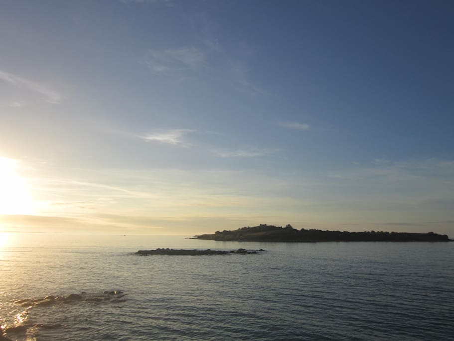 sunset over Ile de Siek, nearby Le dossen, 15mns drive from the house