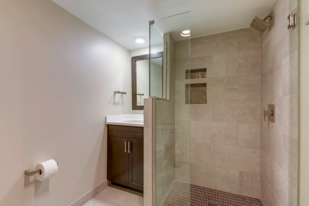 Updated Lower level Shower and bathroom.