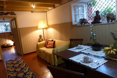 Located in a very nice, quiet and pleasent area. Near a lot of bars and rios night life (Lapa and Santa Teresa central area) only 6 min foot walk to the subway station(gloria) and bus stops.
