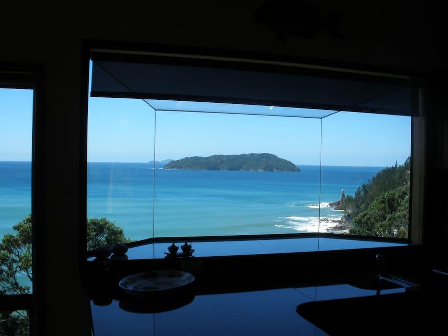 View of Motuhoa island from kitchen window