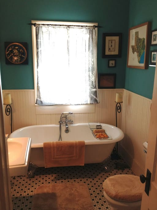 private bath with clawfoot bathtub