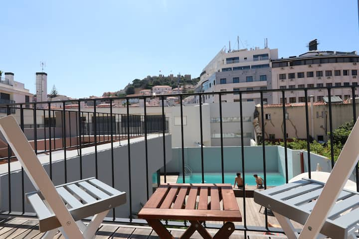 Soak in the Sun@Downtown:Pool,Terrace,View,Parking