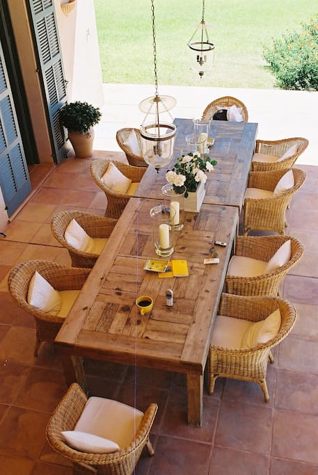 Dining table on the porch