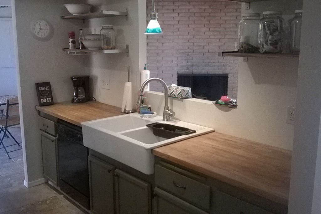New kitchen with large double farm sink