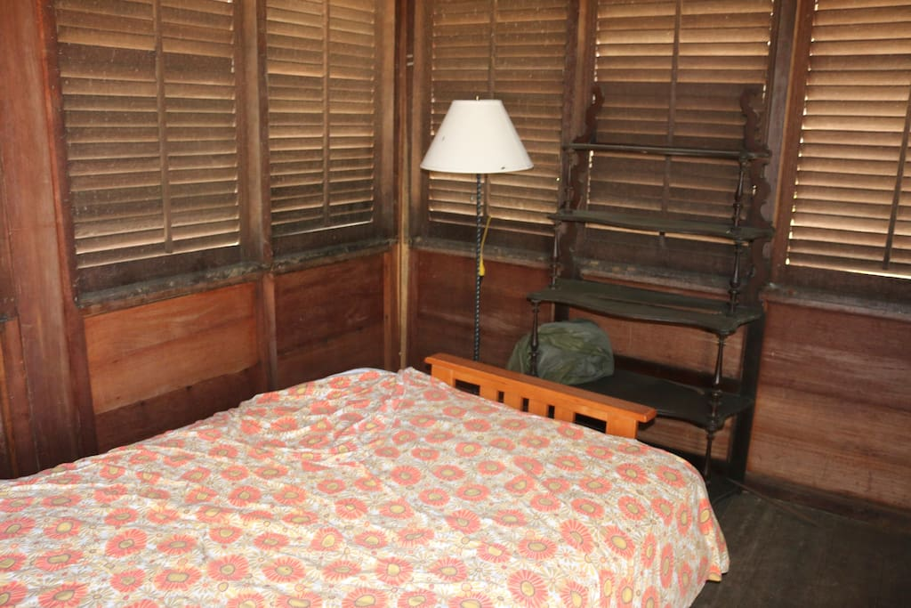 A light and basic necessities are provided and shutters open and close.