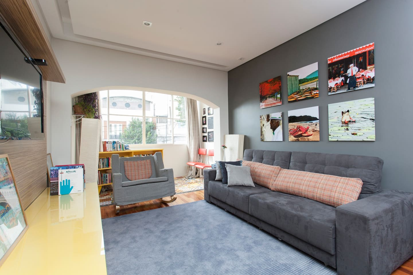 Large living room with comfortable sofa bed