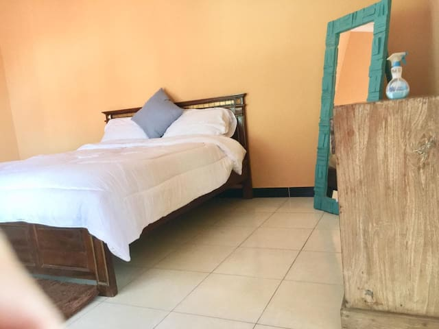 Queen size beds in the very large bedrooms and own mirror and cupboards/drawers for clothing and other personal items. Each bedroom has it's own dedicated air-conditioner.