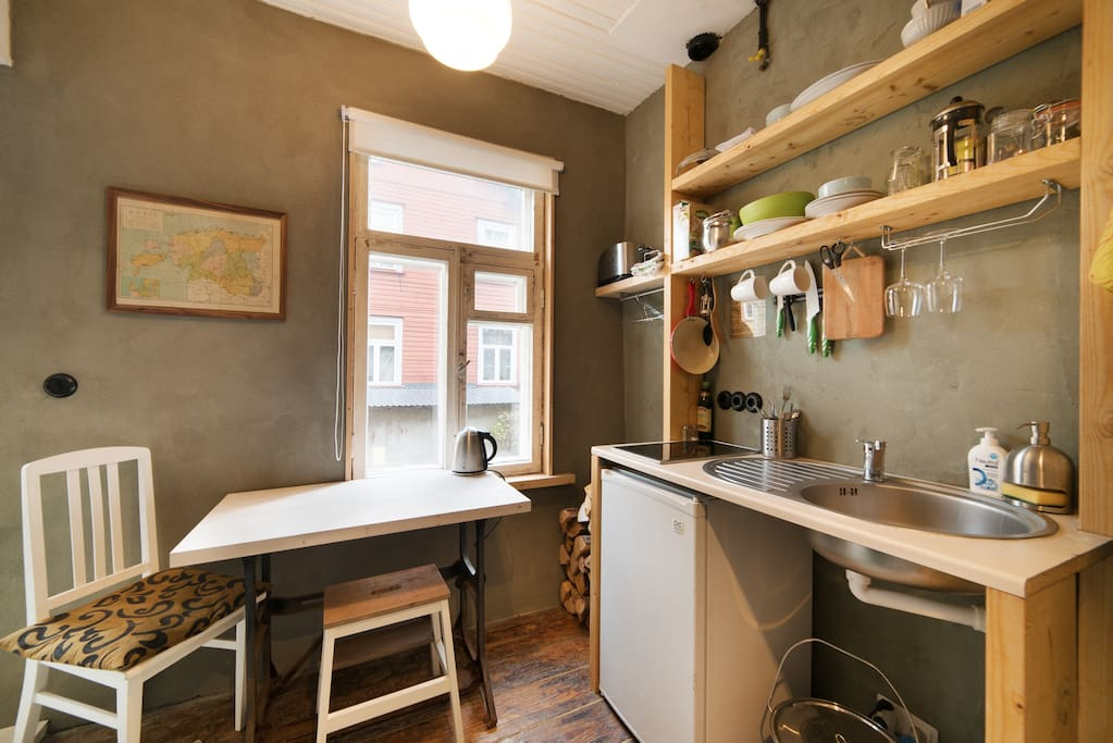 The kitchen is small but includes everything for a short urban stay!