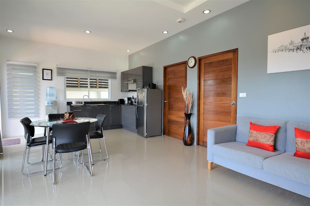 Open plan living,dining and kitchen area.