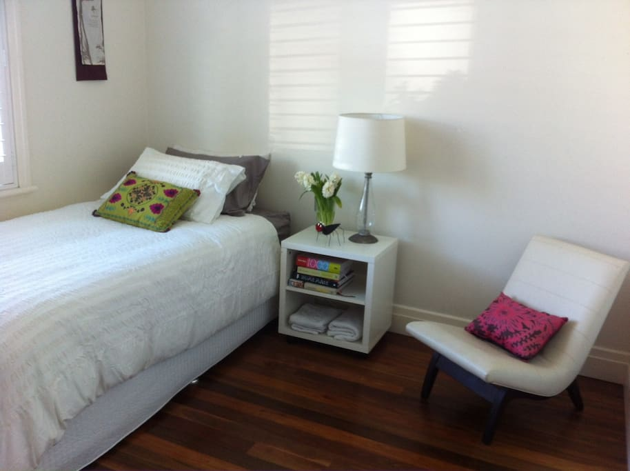This is one of two rooms available, both with a deluxe king size single bed. The rooms can also easily be configured with TWO deluxe king size single beds, to suit the single traveller or couples. The rooms also feature large built in wardrobes.