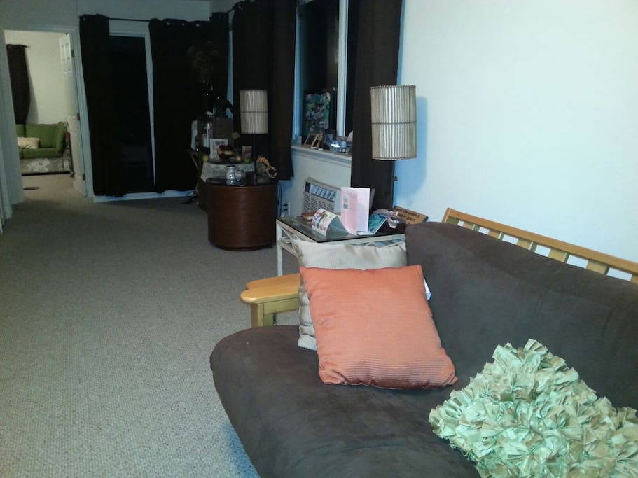 Livingroom bright and clean with comfortable full futon bed.