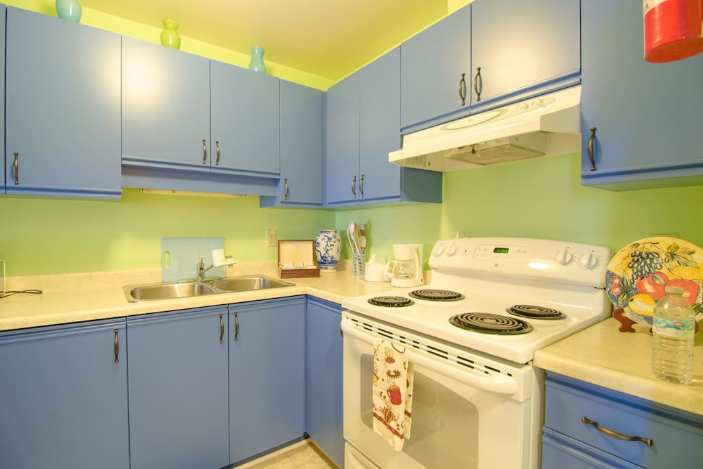 Dishwasher, MW, small appliances, dishes, pots and pans...