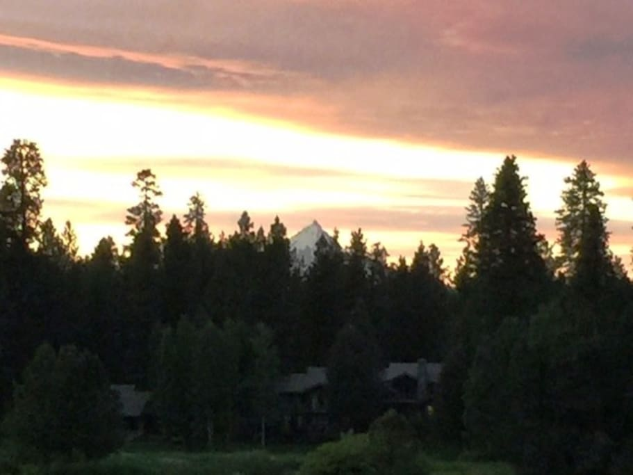 Evening glow of Mt. Jefferson as seen out our living room window