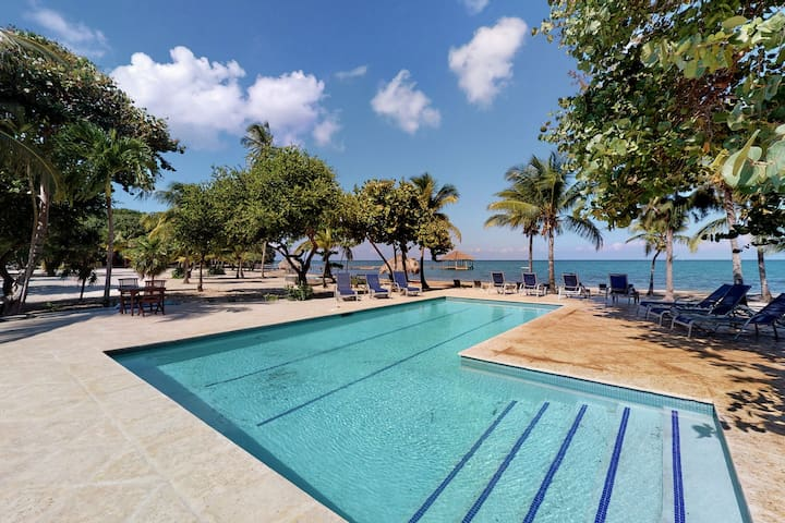 Tropical oceanview villa, with a shared pool and dock access
