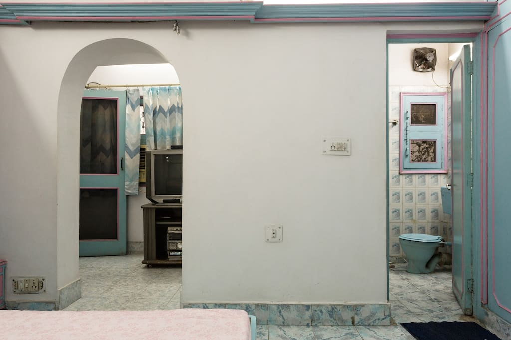 Washroom and Television vew