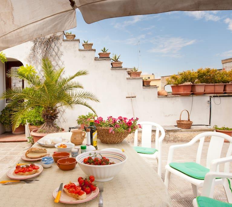 terrazzo  con doccia esterna (nell'angolo a sinistra..dietro la palma)
