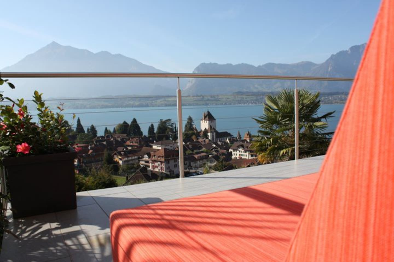 Der überwältigende Ausblick ab dem Balkon im Soldanella.