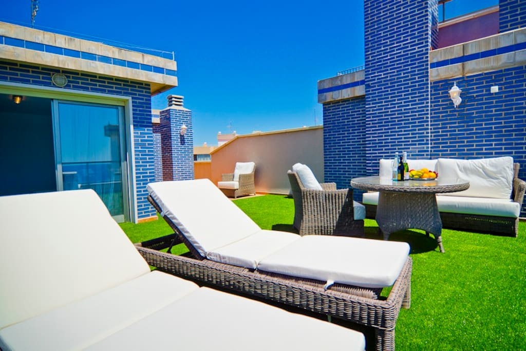 grass cover on the terrace