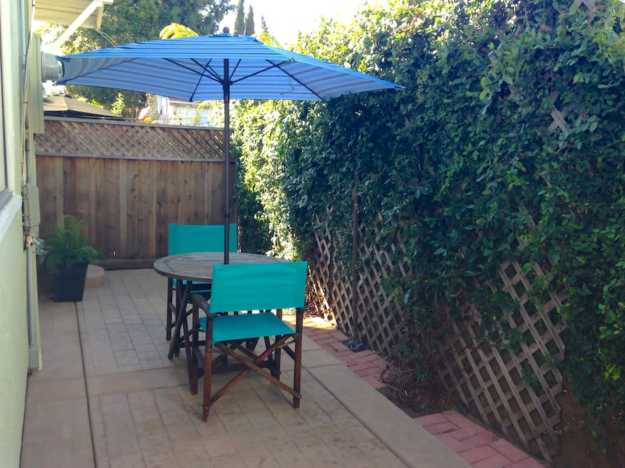 Private patio outside your living room. A great spot to enjoy your morning coffee