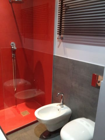Bathroom schower and red