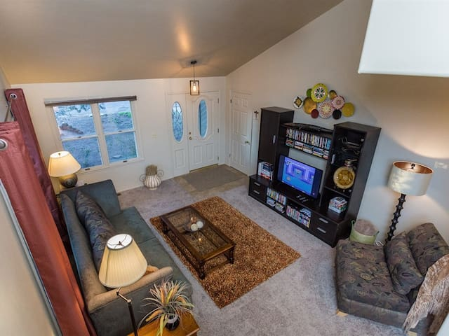 The Front Room offers   books, puzzles, board games and many media options