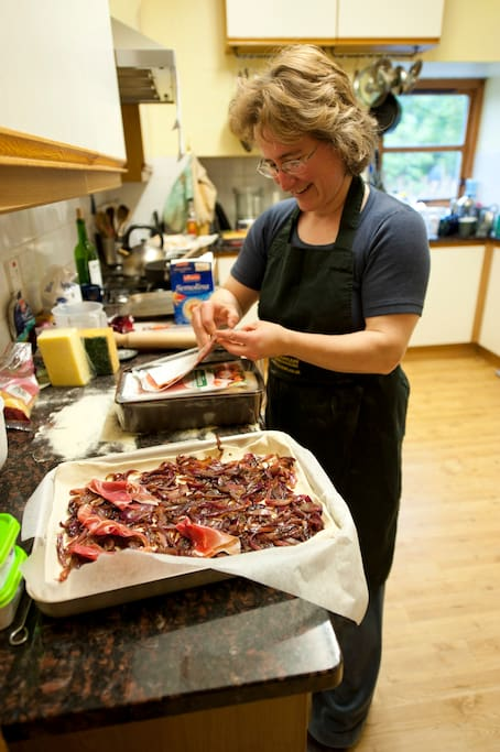 Preparation for group dinners at Fraoch Lodge