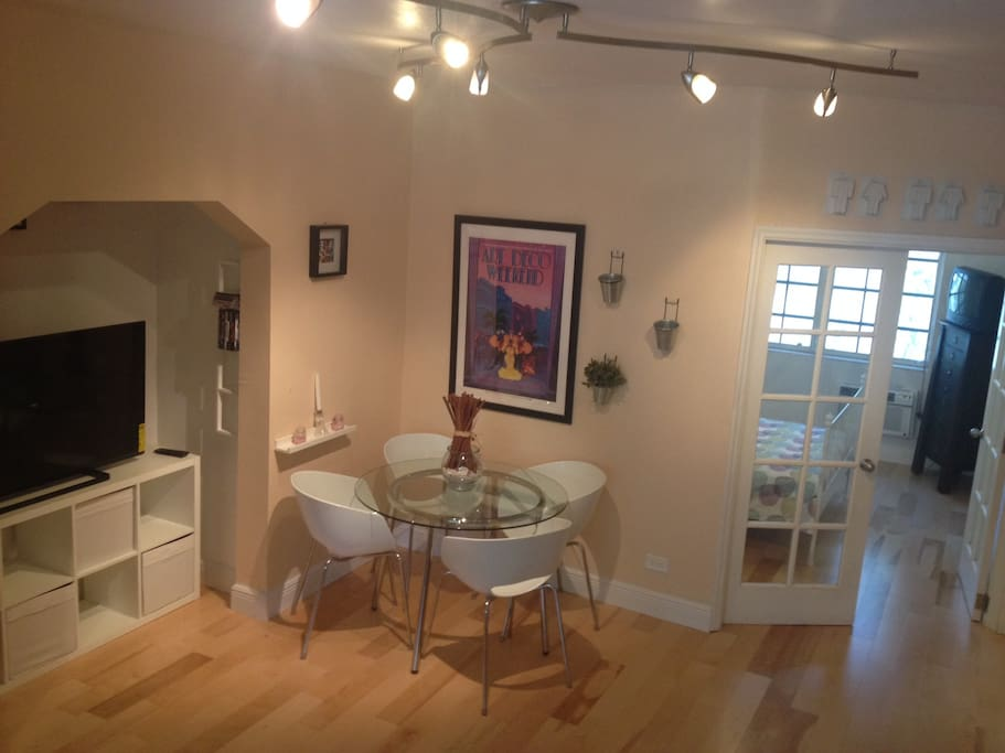 Dining table and tv