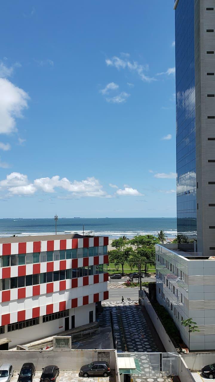 Apto Studio de frente para o mar, Canal 1 - Santos