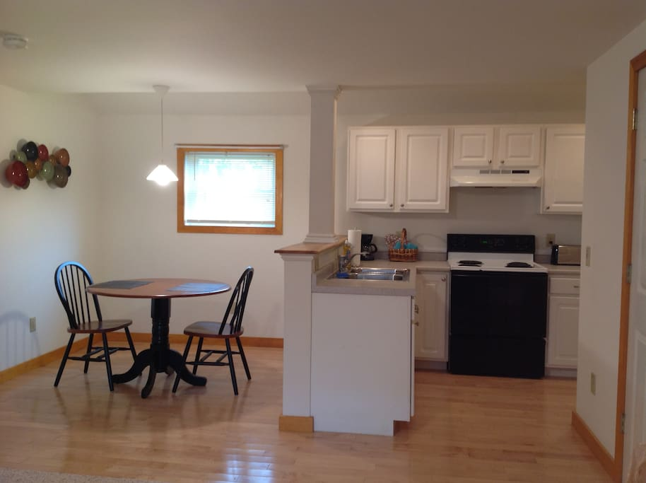 Full kitchen with eating area.