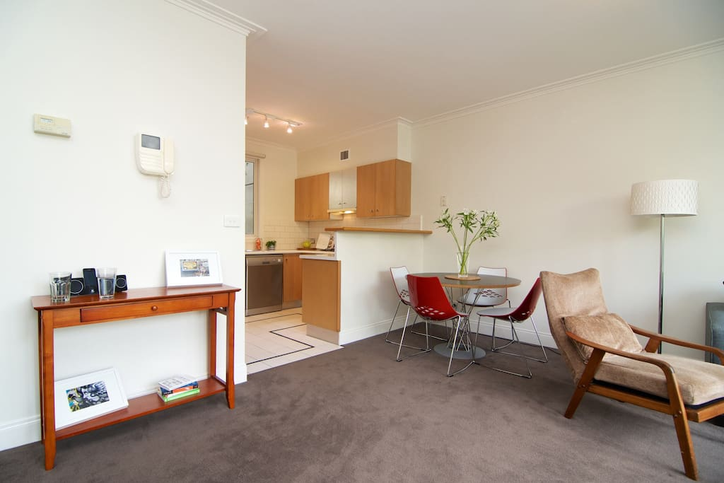 Scandinavian feel open plan living and dining room with Wifi.