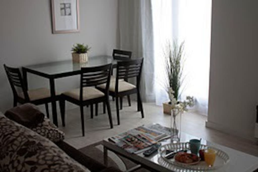 Integrated living and dining area