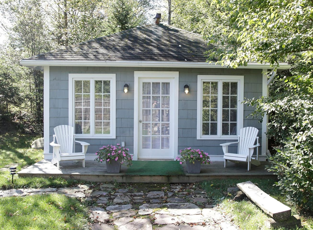 Studio Cottage, summer, front deck, Adirondack chairs