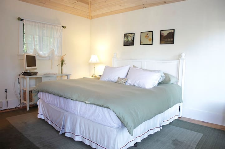 Bedroom with heated California king size bed, Flat screen TV
