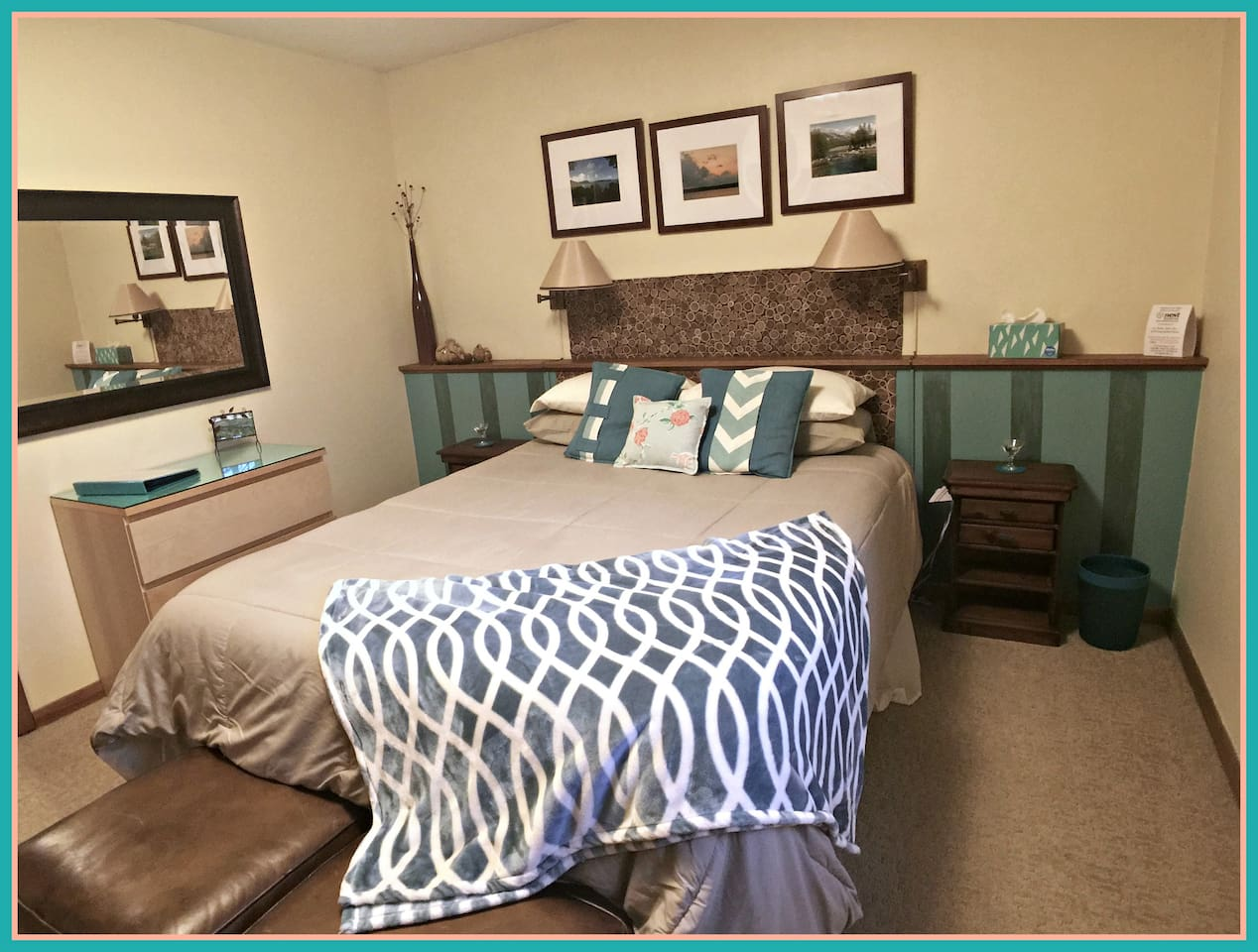 """Your private bedroom-Queen bed, closet and drawer space, mirror, night stands. ....... """"The suite is very cozy and comfortable. We really enjoyed the fireplace."""" --Carrie -10-17"""