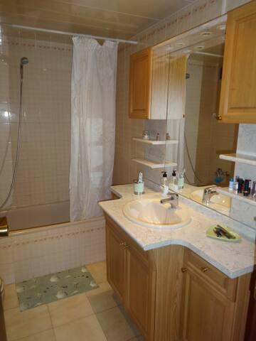Salle de bains avec WC et machine à laver