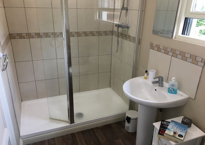 A modern bathroom with walk-in double power-shower