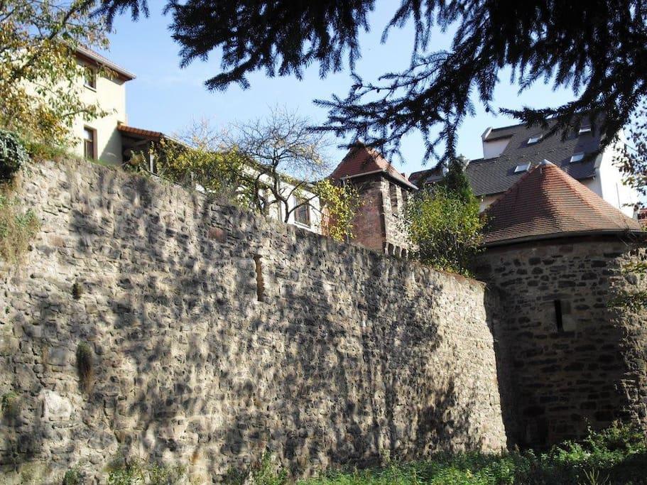 Oberhalb der Stadtmauer von Kahla befindet sich die Rückseite des Hauses mit Ferienwohnung und Kräutergarten