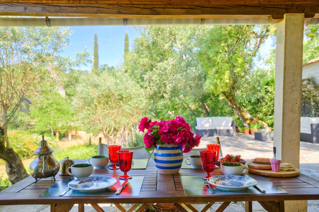 Wake up with chirping birds and have breakfast overlooking the  XVI century chapel at the estate.