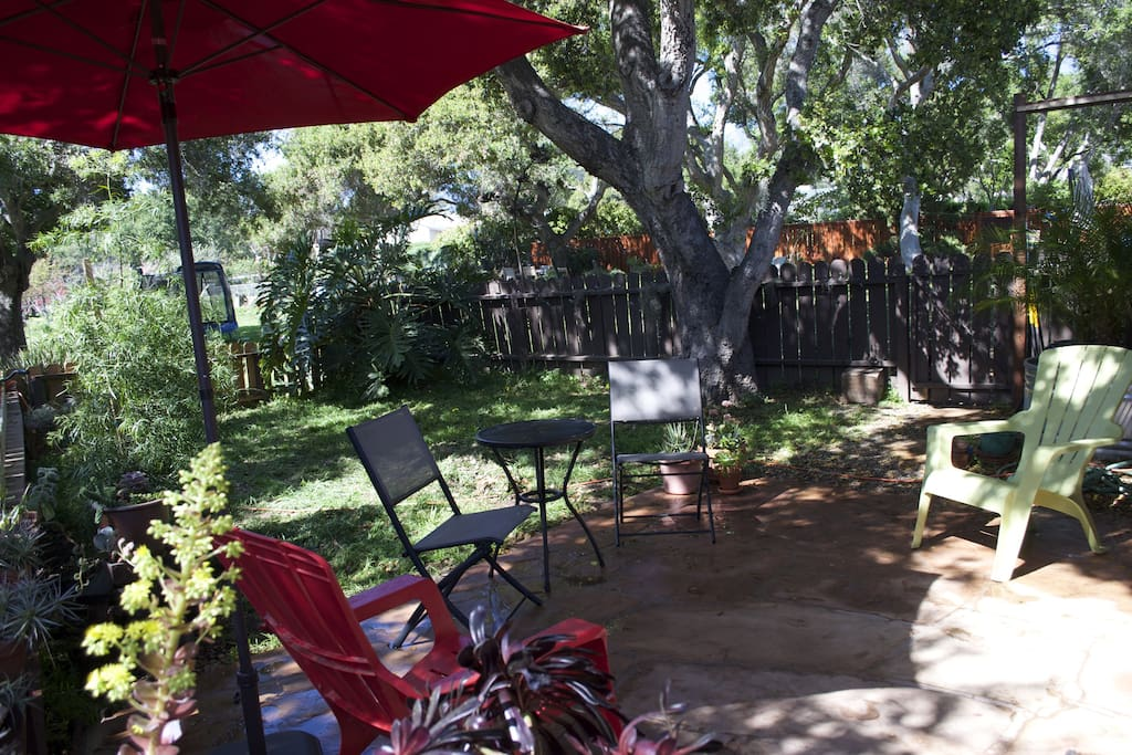 Back patio for relaxing, dining and grilling