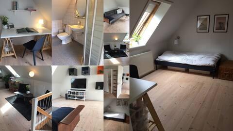Stort værelse i nordisk stil med stue og eget bad.